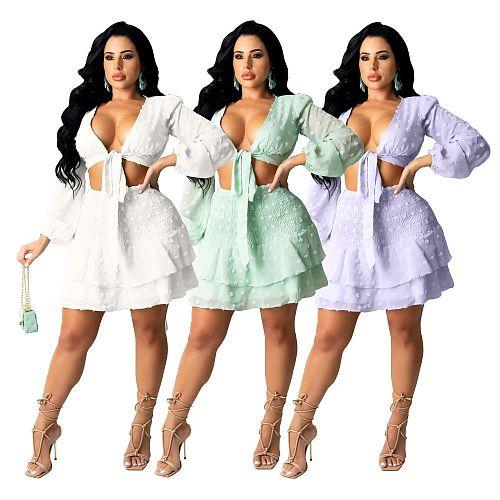 Lantern Long Sleeve Lace Up Crop Tops Skirts Set