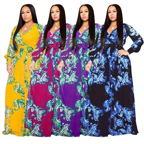 Floral Print Chiffon V-Neck Long Sleeve Sashes Dress