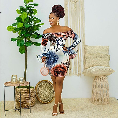 Pattern Off Shoulder Flared Long Sleeve Bodycon Dress