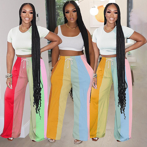 Rainbow Stripes Lace Up Loose Wide Leg Pants