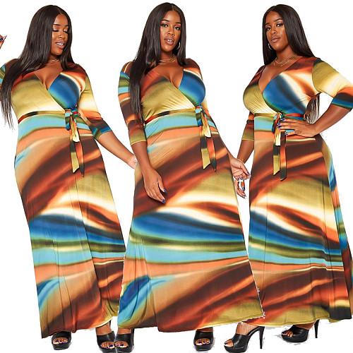Pattern Printed V Neck Sashes Maxi Long Dresses