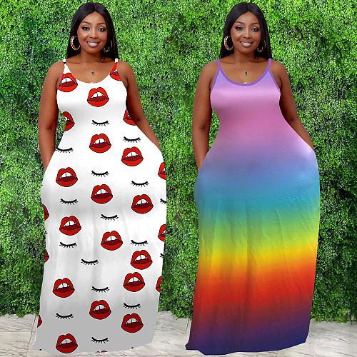 O Neck Sleeveless Print Plus Size Sling Maxi Dress