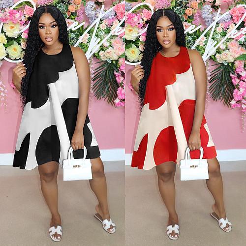 Sleeveless O Neck Print Loose Plus Size Dress