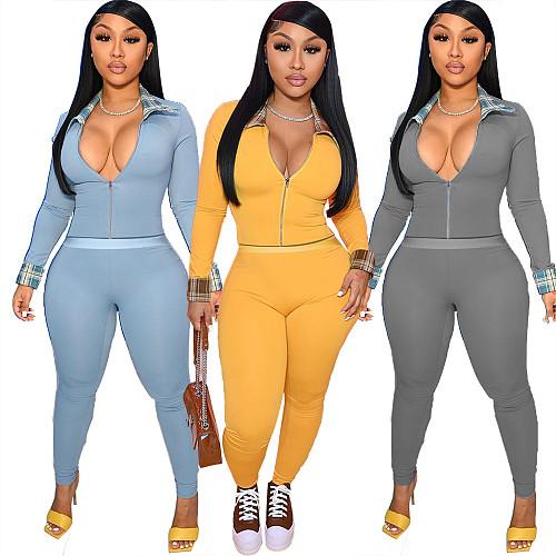 Long Sleeve Zip Crop Top Leggings Pants Set