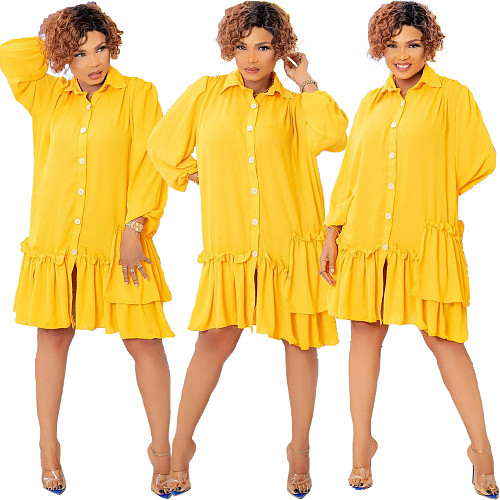 Pleated Lapel Button Up Solid Loose Ruffle Dress