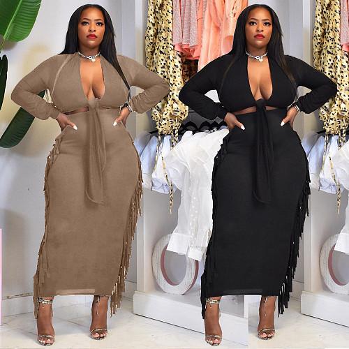 Long Sleeve Lace Up Crop Tops Tassel Skirt Set