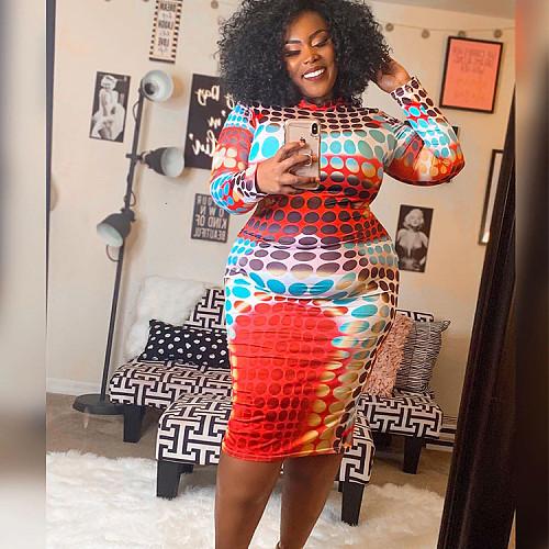 Pattern Print Long Sleeve O Neck Plus Size Dress