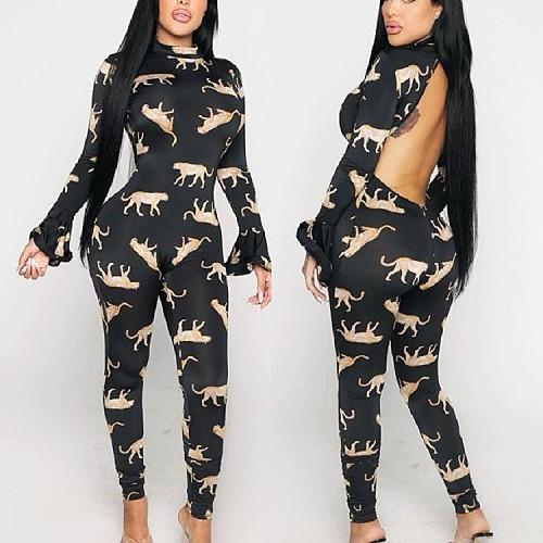 Animal Print Flare Sleeve Backless Bodycon Jumpsuit