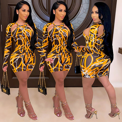 Print Hollow Out O-neck Long Sleeve Bodycon Rompers