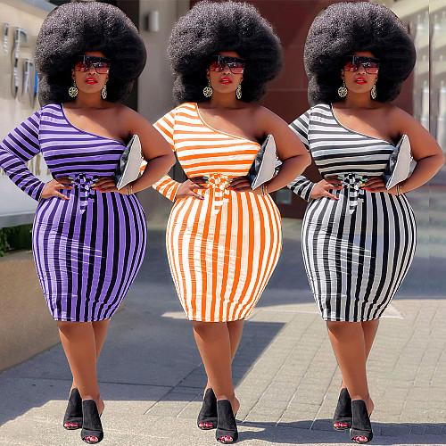 Long Sleeve Stripe One Shoulder Plus Size Dress