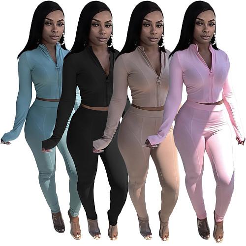 Solid Long Sleeve Zip Crop Top Slim Pants Set