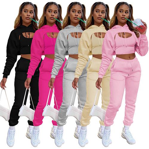 Long Sleeve Hooded Crop Top+Camis +Pants Set