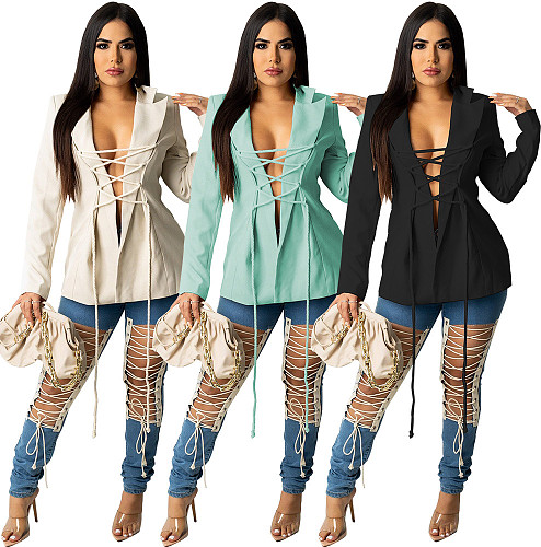 Solid Color Turn-down Collar Lace Up Blazer Jacket