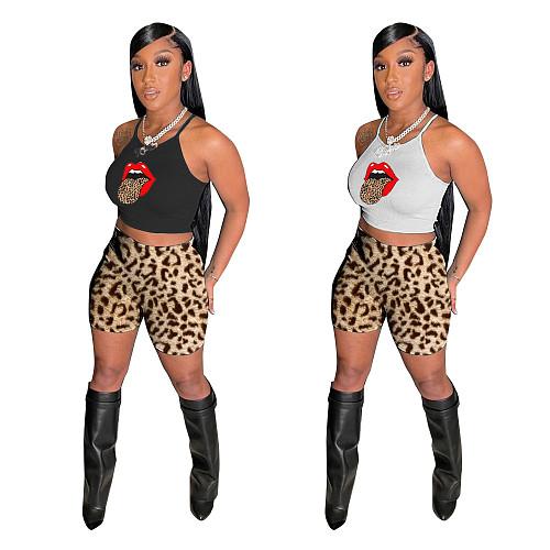 Spaghetti Straps Crop Top Leopard Print Shorts Set