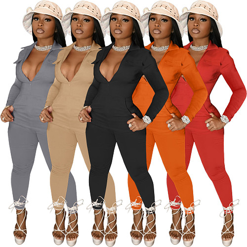 Solid Color Long Sleeve Front Zip Bodycon Jumpsuit