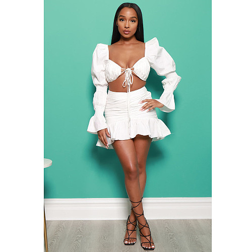 Long Puff Sleeve Lace Up Crop Top Pleated Skirts Set