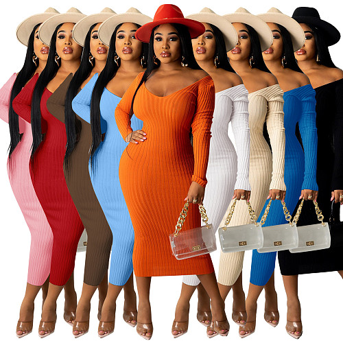 Solid Long Sleeve V Neck Ribbed Knit Bodycon Dress