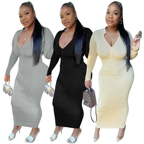 Zip-Up O Neck Slim Long Sleeve Ankle Length Dress