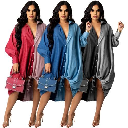 Patchwork Single-Breasted Irregular Hem Loose Shirt Dress