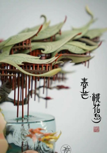 【In Stock】Yuan Xingliang Spring Awn Taohua Island resin statue