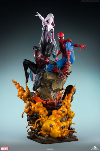 【Preorder】Queen Studio Marvel Spider-Man Combination Peter&Gwen&Miles Copyright Resin Statue's Postcard