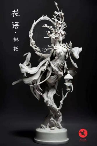 【Preorder】Zhanma Studio Flower Language Series Peach Blossom Grey Version Resin Statue's Postcard