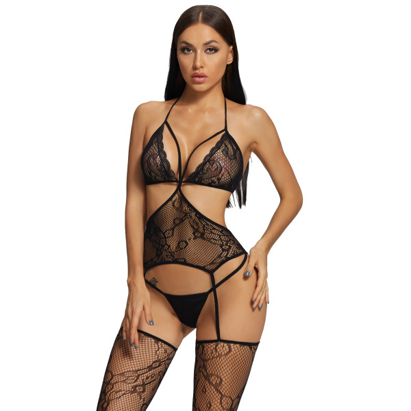 2021 New Sexy Bra with Fishnet Stockings Camisole Black