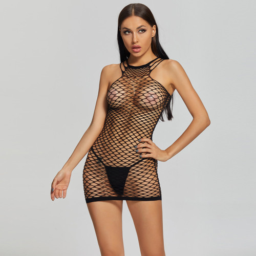 2021 New Women's Fishnet Uniform For Sexy Cosplay Black