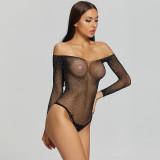 Off Shoulder Bikini Jumpsuit with Diamond Uniform Black