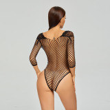 Bikini Jumpsuit Uniform with Lace and Deep V-Neck Black