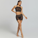 Sexy Lingerie with Diamond Hip Skirt and Camisole Black