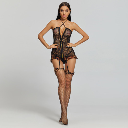 2021 New Sexy Leopard Print Jumpsuit with Zipper Black