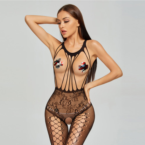 Sexy Jumpsuit For Expose Breast and Crotchless Black