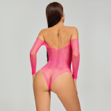 Off Shoulder Bikini Jumpsuit with Diamond Uniform Pink