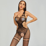 Sexy Fishnet Jumpsuit with Perspective Stockings Black
