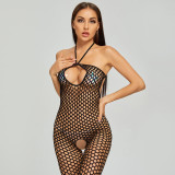 Charming Fishnet Jumpsuit with Crotchless Stockings Black