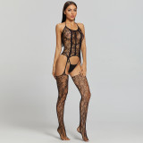 Sexy Jumpsuit Camisole with Flower Desire Stockings
