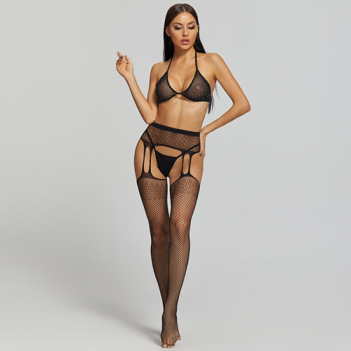 Sexy Stockings with Honeycomb and Bra and G-String Black