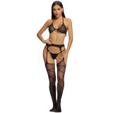 Sexy Stockings with Line Partition and Bra and G-String
