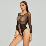 Sexy Bikini Jumpsuit with Axial Fishnet For Cosplay Black