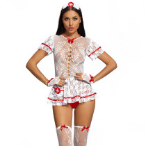 Sexy Nurse Uniform with Lace and Headwear and Stockings