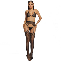 Sexy Stockings with Lacework and Bra and G-String Black