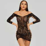 Sexy Jumpsuit with Charming Camisole and Stockings Black
