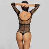 Sexy Bikini Jumpsuit with Breasts and Long Sleeve Black