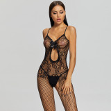 Sexy Pajamas with Camisole and Middle Hollow Black
