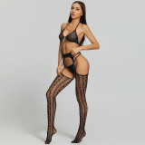 Sexy Lingerie Include Stockings Bra and G-String Black
