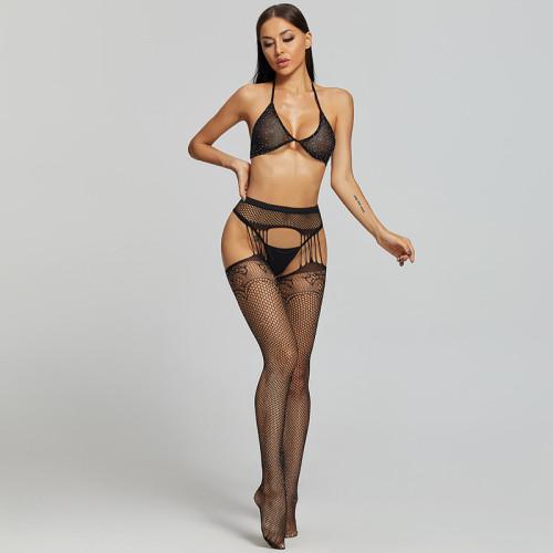 Sexy Desire Stockings and Diamond Bra and G-String Black
