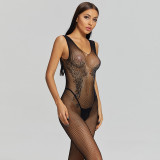 Sexy Fishnet Jumpsuit with Diamond and Crotchless Black