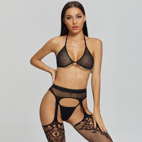 Sexy Stockings with Flower Pattern and Bra and G-String