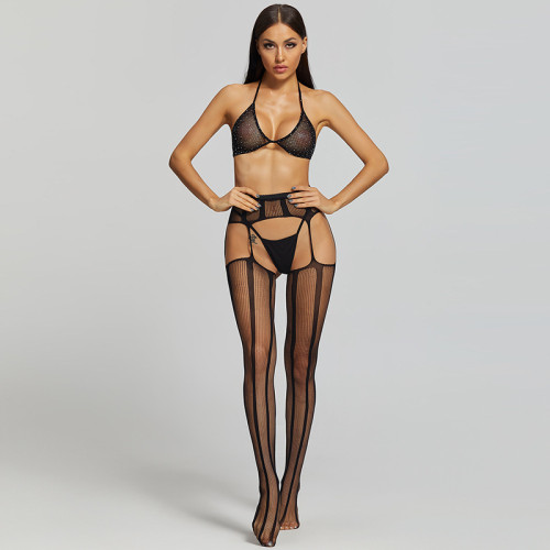 Sexy Stockings with Alluring Line and Bra and G-String Black